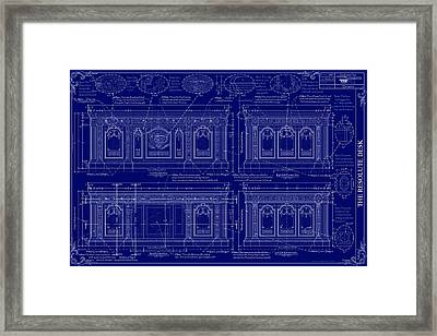 The Resolute Desk Blueprints - Dark Blue Framed Print by Kenneth Perez