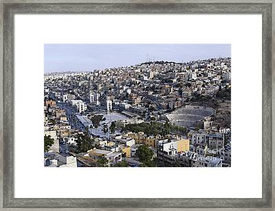 The Roman Theatre In The Middle Of The City Of Amman Jordan Framed Print by Robert Preston