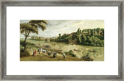 The Thames At Richmond, With The Old Framed Print by Flemish School