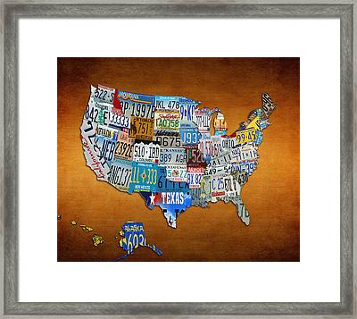 The Usa License Tag Map Framed Print by Brian Reaves