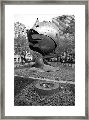 The W T C Plaza Fountain Sphere In Black And White Framed Print by Rob Hans