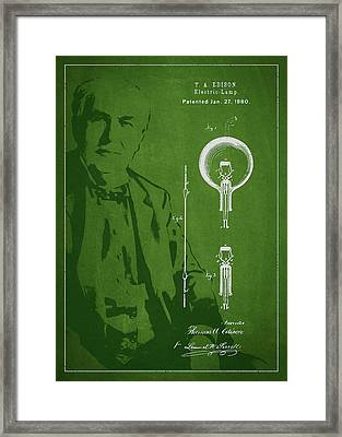 Thomas Edison Electric Lamp Patent Drawing From 1880 Framed Print by Aged Pixel