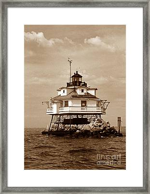 Thomas Point Shoal Lighthouse Sepia Framed Print by Skip Willits