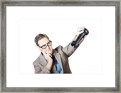 Thoughtful Businessman Holding Rook Framed Print by Jorgo Photography - Wall Art Gallery
