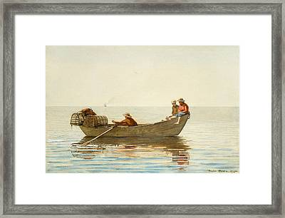 Three Boys In A Dory With Lobster Pots Framed Print by Winslow Homer