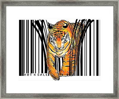 Tiger Barcode Framed Print by Sassan Filsoof