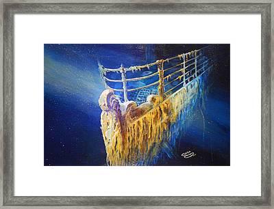 Titanic In The Deep Mist Framed Print by Ottilia Zakany