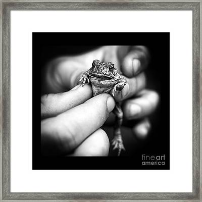 Toad In Hand Framed Print by Edward Fielding