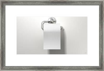 Toilet Roll On Chrome Hanger Framed Print by Allan Swart