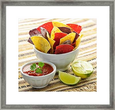 Tortilla Chips And Salsa Framed Print by Elena Elisseeva