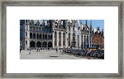 Tourists At A Market, Bruges, West Framed Print by Panoramic Images