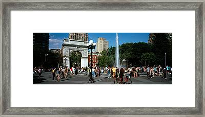 Tourists At A Park, Washington Square Framed Print by Panoramic Images