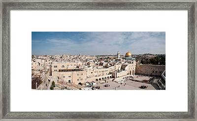 Tourists Praying At A Wall, Wailing Framed Print by Panoramic Images