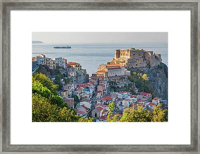 Town View With Castello Ruffo, Scilla Framed Print by Peter Adams