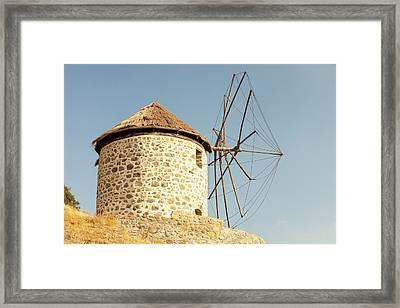 Traditional Greek Cloth Sailed Windmills Framed Print by Ashley Cooper
