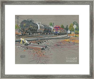Train's Coming Framed Print by Donald Maier