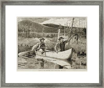 Trapping In The Adirondacks Framed Print by Winslow Homer