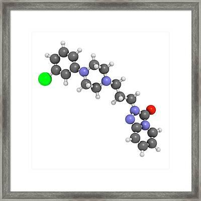 Trazodone Antidepressant Drug Molecule Framed Print by Molekuul