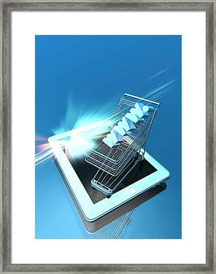 Trolley And Digital Tablet Framed Print by Victor Habbick Visions
