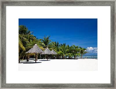 Tropical White Sand Beach Borneo Malaysia Framed Print by Fototrav Print