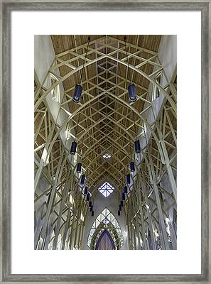 Trussed Arches Of Uf Chapel Framed Print by Lynn Palmer