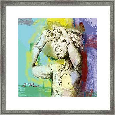 Tupac Shakur Long Stylised Drawing Art Poster Framed Print by Kim Wang