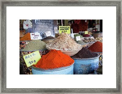 Turkey, Gaziantep, Medina, Spice Market Framed Print by Emily Wilson