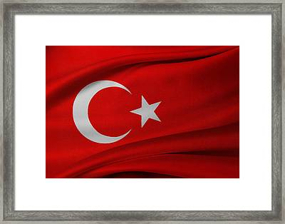 Turkish Flag Framed Print by Les Cunliffe