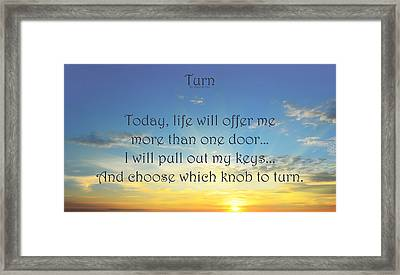 Turn Framed Print by Angelina Vick