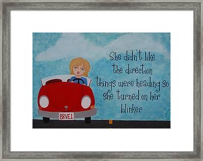 Turned On Her Blinker Framed Print by Brandy Gerber