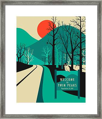 Twin Peaks Travel Poster Framed Print by Jazzberry Blue