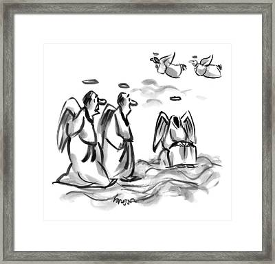 Two Angels Discuss A Third Headless Angel Framed Print by Lee Lorenz