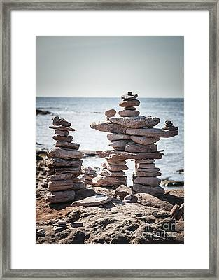 Two Stacked Stone Cairns Framed Print by Elena Elisseeva