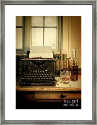 Typewriter And Whiskey Framed Print by Jill Battaglia