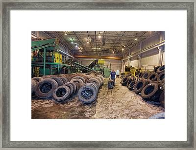 Tyre Recycling Facility Framed Print by Jim West