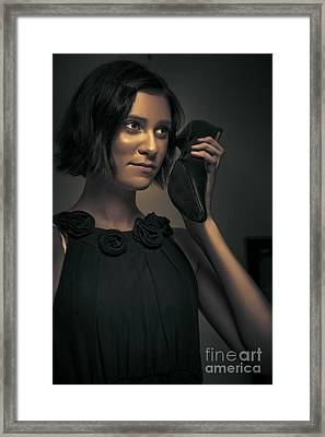 Undercover Secret Agent Using Shoe Phone Framed Print by Jorgo Photography - Wall Art Gallery