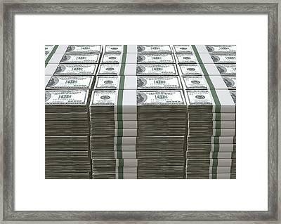Us Dollar Notes Pile Framed Print by Allan Swart