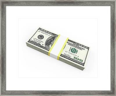 Us Dollar Notes Framed Print by Sebastian Kaulitzki