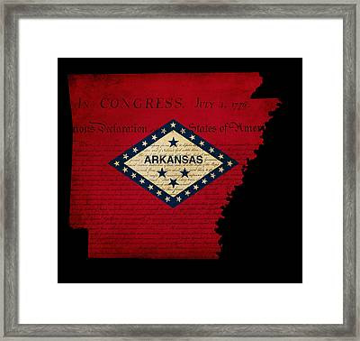 Usa American Arkansas State Map Outline With Grunge Effect Flag  Framed Print by Matthew Gibson