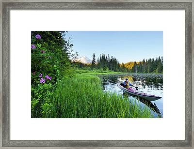 Usa, Oregon A Woman In A Sea Kayak Framed Print by Gary Luhm