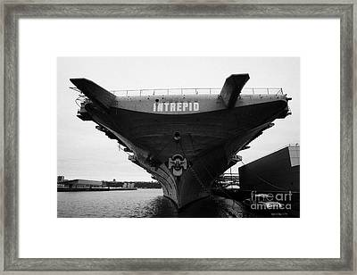 Uss Intrepid Aircraft Carrier At The Intrepid Sea Air Space Museum New York Framed Print by Joe Fox