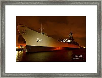 Uss Wisconsin Framed Print by Mike Baltzgar