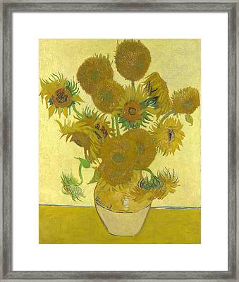 Vase With Fifteen Sunflowers Framed Print by Celestial Images