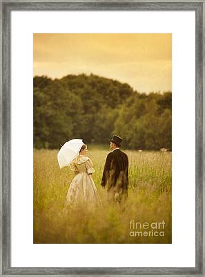 Victorian Couple In A Summer Meadow Framed Print by Lee Avison
