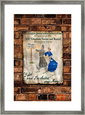 Victorian Sign Framed Print by Adrian Evans