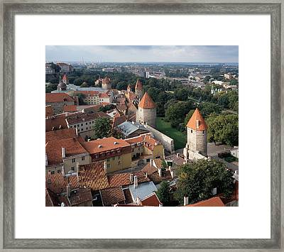View From Above Of Old Town Tallinn Estonia Framed Print by Cliff Wassmann