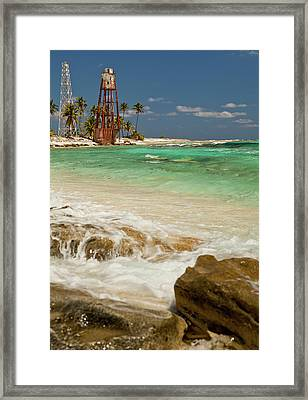 View Of Lighthouse On Half Moon Caye Framed Print by Michele Benoy Westmorland