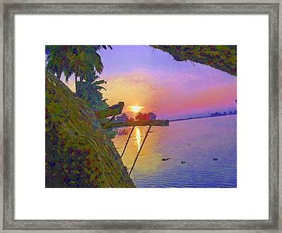 View Of Sunrise From A Houseboat Framed Print by Ashish Agarwal