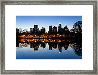 View Of The Midtown Skylines And Lake Framed Print by Panoramic Images