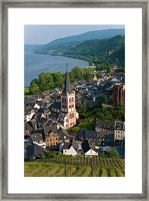 View Over Bacharach And River Rhine Framed Print by Peter Adams